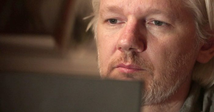 """This image published by Showtime shows Julian Assange in a scene from the documentary """"Risk"""". (Praxis Films / Showtime via AP)"""