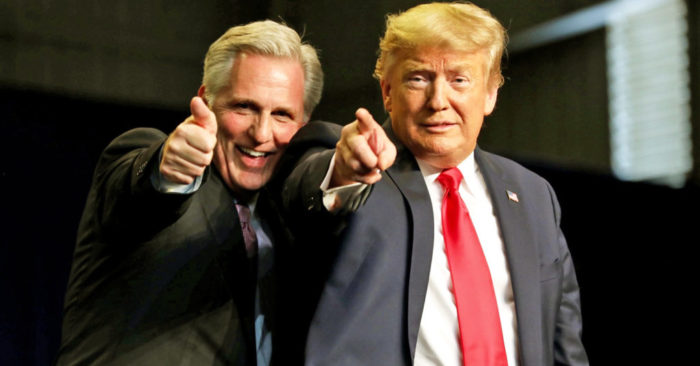 Kevin McCarthy Donald Trump pointing