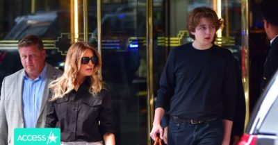 15-year-old Barron Trump towers over his mother Melania as they leave Trump Tower days after the former president returned to NY