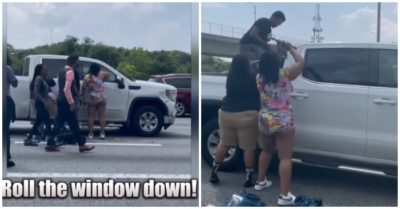 Incident on a busy Atlanta highway, good Samaritans smash pickup truck windows to rescue unconscious driver