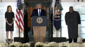 President Trump participates in the swearing-in ceremony of the honorable Amy Coney Barrett